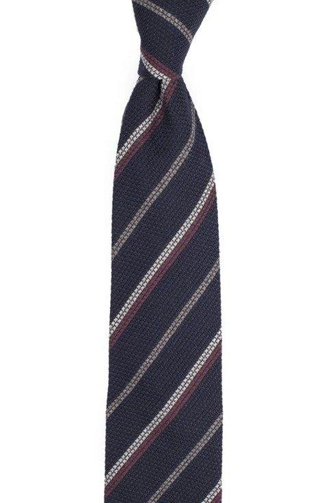 Granatowy krawat z grenadyny wełnianej