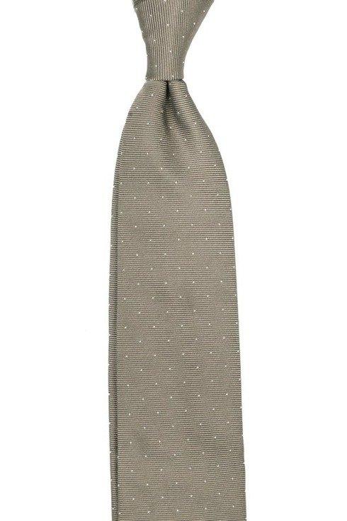 KRAWAT z jedwabiu żakardowego polka dots 9 cm x 148 cm