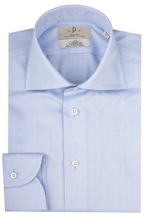Koszula błękitna splot jodełkowy kołnierz półwłoski Albini