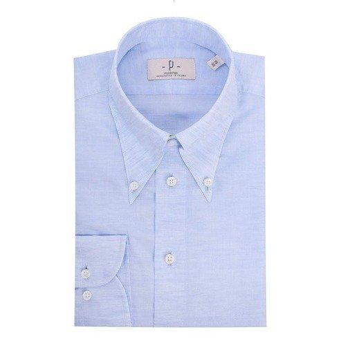Koszula lniano- bawełniana błękitna button down
