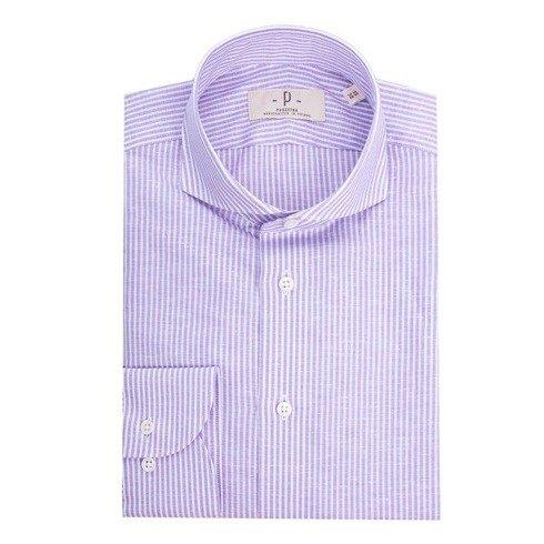 Koszula lniano- bawełniana lila w prążek