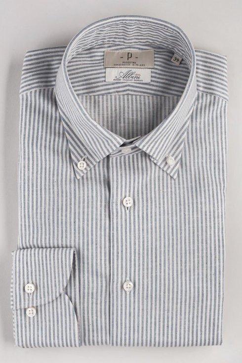 Koszula z bawełną recyklingową Albini z kołnierzem button down