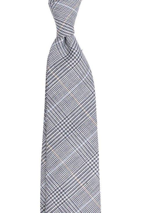Lniano- wełniany krawat bez podszewki. Krata w odcieniach błękitu.