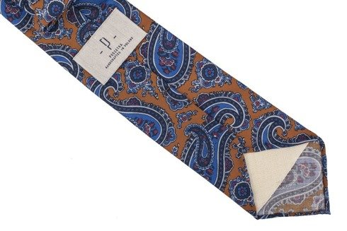 Musztardowy paisley krawat bez podszewki z wełny drukowanej