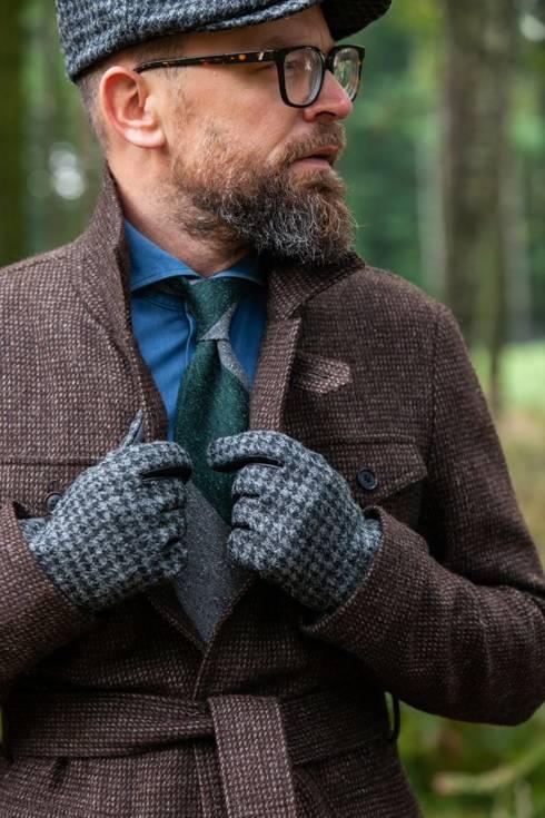 Ocieplane rękawiczki z harris tweedu pepita
