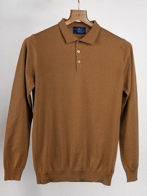 Polo sweter wiosenny - orzechowy