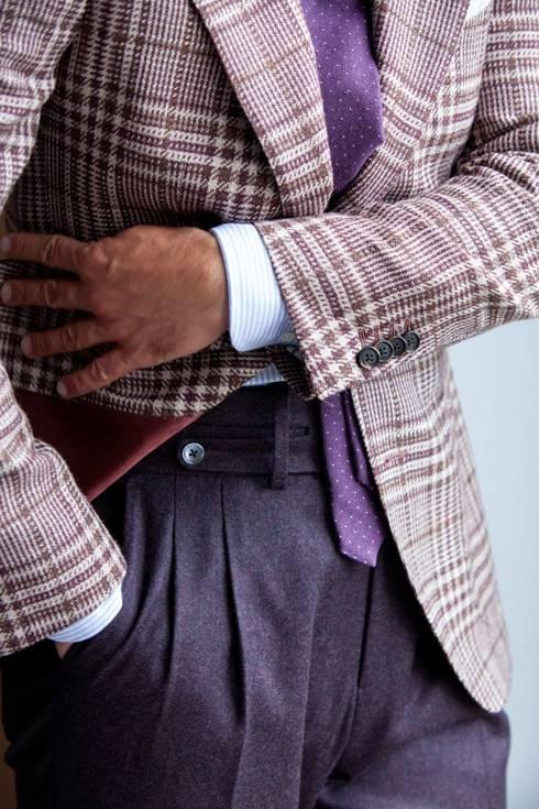 """Preorder: Spodnie """"Alfred"""" flanelowe bakłażanowe"""