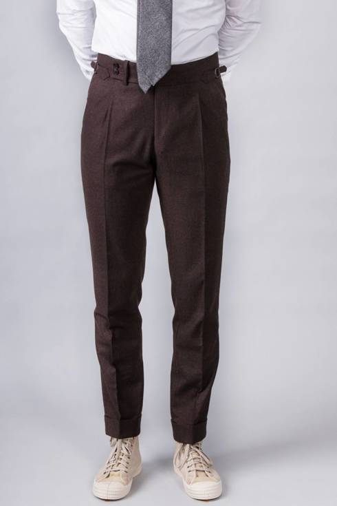 "Preorder: Spodnie ""John"" flanelowe brązowe"