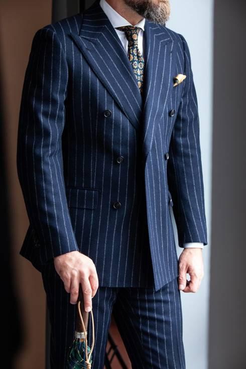 Preorder: flanelowy dwurzędowy garnitur
