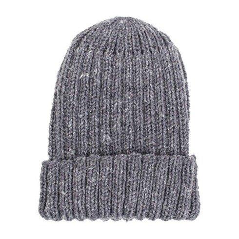 SZARA czapka robiona na drutach / merynos + konopie