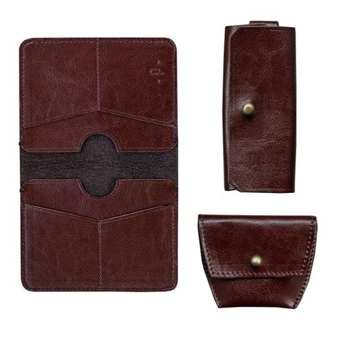 Wiśniowy Zestaw Pocket Wallet + bilonówka + etui na klucze