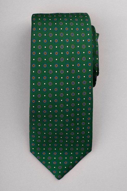 Zielony krawat six fold z jedwabiu drukowanego Macclesfield