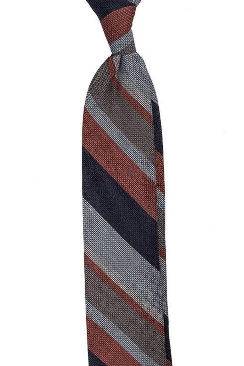 cegła z granatem lniano- jedwabny krawat z grenadyny