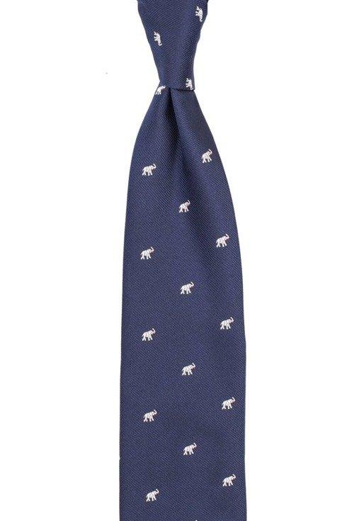 jedwabny granatowy krawat w słonie