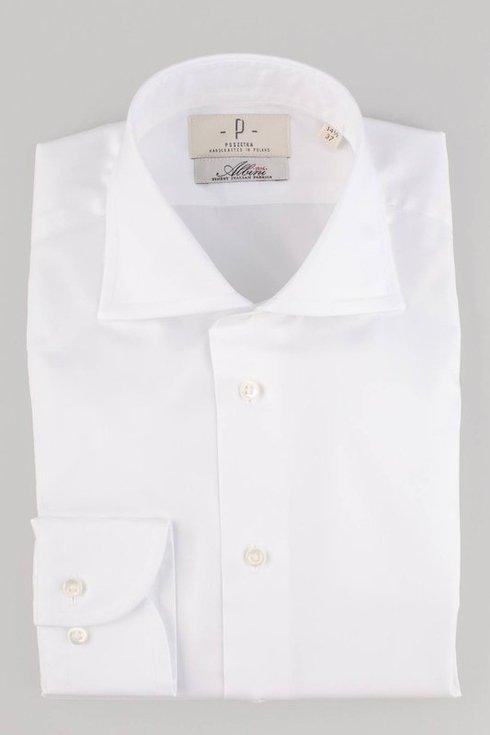 klasyczna biała koszula z kołnierzem półwłoskim