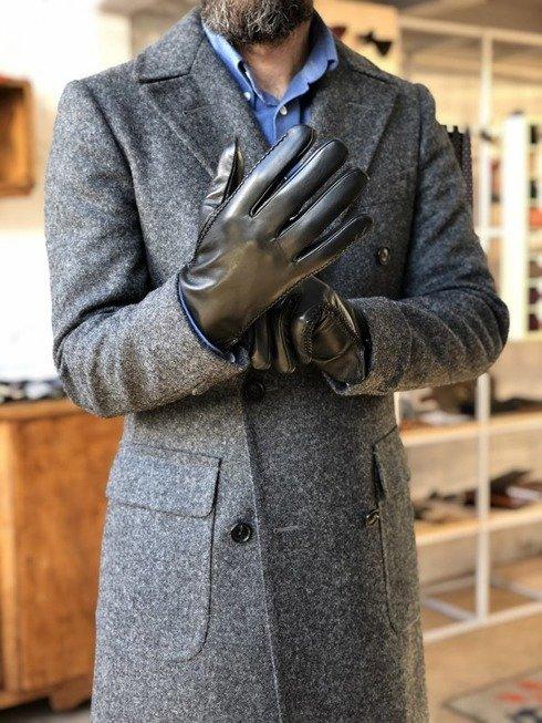 ocieplane rękawiczki ze skóry owczej, czarne