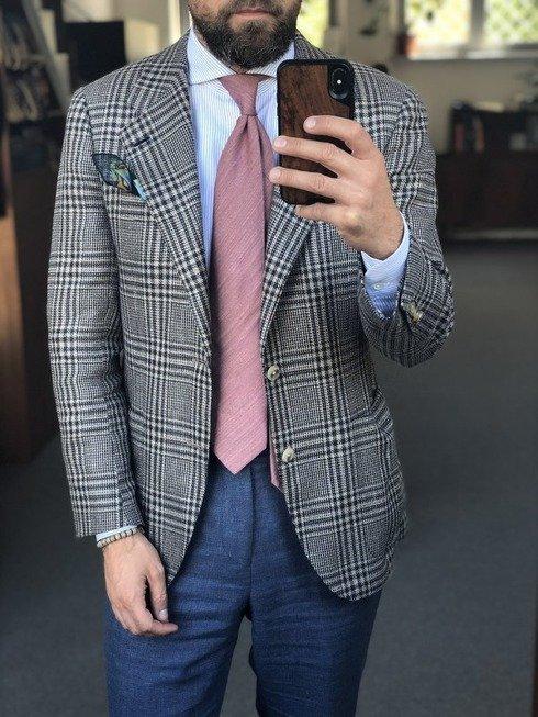 pastelowy róż lniano- jedwabny  krawat