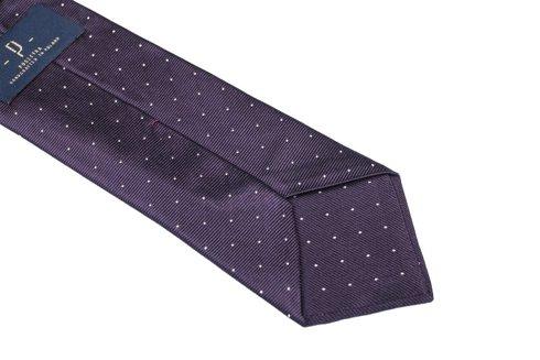 Fioletowy krawat z jedwabiu żakardowego polka dots