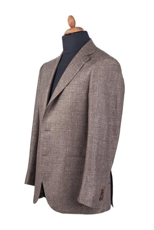 GARDA brązowy lniano-wełniany garnitur