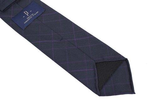Granatowy Krawat w kratę PoW bez podszewki