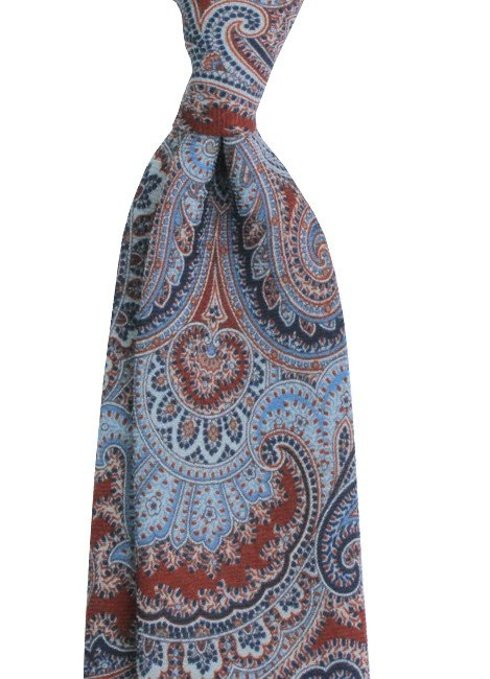 Krawat z drukowanej wełny / ceglasty paisley