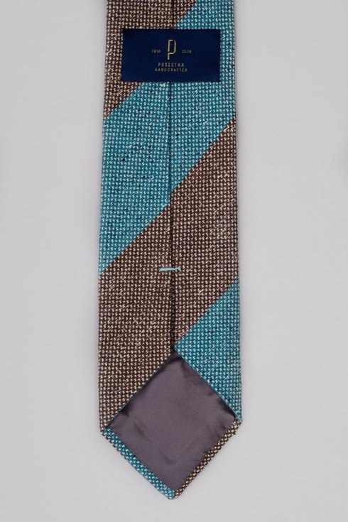 Pasiasty krawat wełniano- jedwabny w melanżu