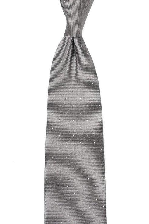 Popielaty krawat z jedwabiu żakardowego polka dots