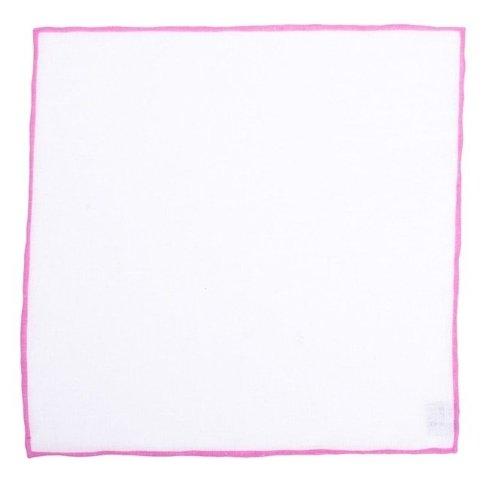 Poszetka lniana z różowym brzegiem
