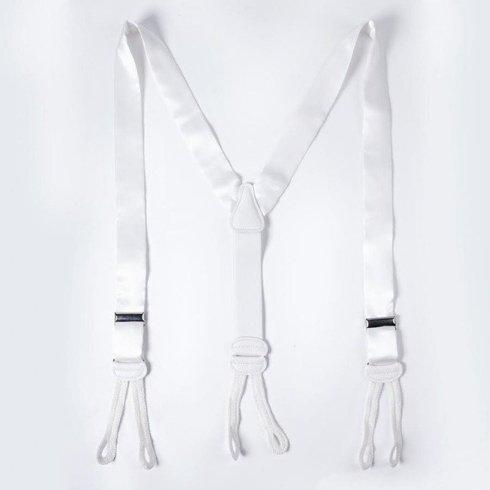 białe szelki z satyny jedwabnej