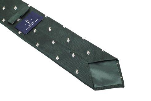 jedwabny zielony krawat w słonie