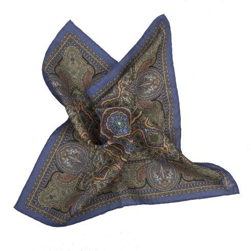 niebiesko- musztardowa poszetka macclesfield w ornamenty